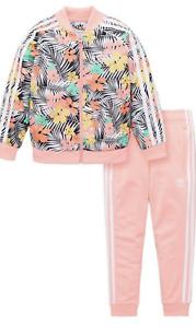 Adidas Originals Childrens Kids Floral Tracksuit - Pink - UK 6-7 YEARS