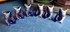 "Vintage Ceramic 3"" Koi Fish Sake Cups Shot Glass Set of 6 D-94 blue & orange"