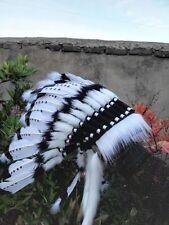 White indian feather headdress indian war bonnet for halloween costume supply