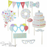 BIRTHDAY PHOTO BOOTH PROPS / KIT - Party Game/Dress Up/Selfie -Glasses, Cake etc
