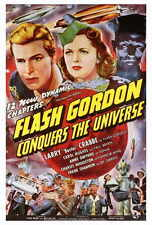 FLASH GORDON CONQUERS THE UNIVERSE Movie POSTER 27x40 Buster Crabbe Carol Hughes