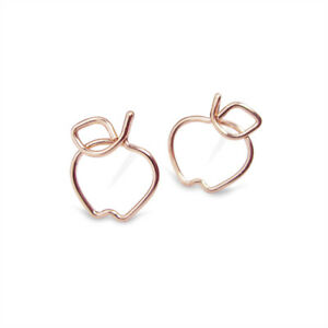 1/2 Inch Rose Gold Apple Stud Earrings. Handmade. Hypoallergenic.