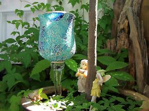Mosaik Kelchglas Windlicht °°° ELAMBIA QVC °°° Kerzenhalter türkis-blau 30 cm