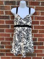 White House Black Market Beige Floral Silk Tank Top Sleeveless Blouse Medium