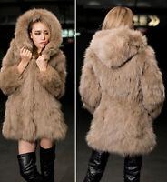 Womens Faux Fox Fur Hooded Long Coat Outwear Winter Warm Thicken Jacket Parka