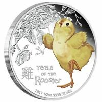 2017 Lunar Year of the Baby Rooster 1/2oz Silver Proof Coloured Coin PERTH MINT