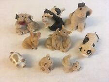 Vintage Miniature Piggies Pig Figurines Lot Of 9 Used - Various Brands/Materials