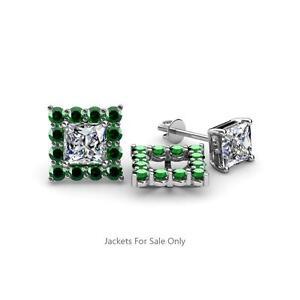 Emerald Halo Jacket for Princess Cut Stud Earrings 0.70 ct tw 14K Gold JP:39455