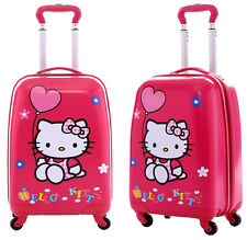 "New Cute Pink Hello Kitty 18"" Kid's Girls Hard Side Luggage Bag Trolley Baggage"