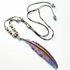 Rainbow Tibetan Silver Feather Titanium Crystal Agate Drawstring Necklace