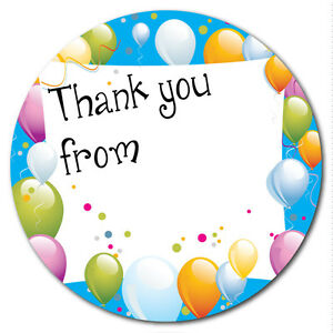 Thank You - party bag stickers - 60mm - space to write name - balloons - blue