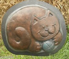 """cat stepping stone concrete plaster mold mould 12.25"""" x 1"""" thick"""