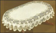 "Tablecloth oval lace cream/dark gold NEW 51""x71"" (130x180cm) perfect gift"