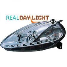 LHD Design Daylight Headlight Pair Clear Chrome For Fiat Grande Punto 05-09