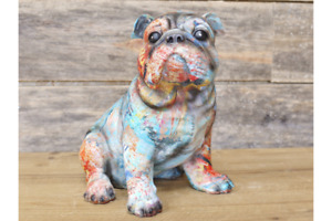 Graffiti Sitting Grafitti Bulldog      Resin Ornament   22cm High