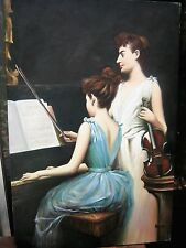 """Antique Oil Painting  Large 23.5 x 36"""" Ladies Playing Music Unsigned"""