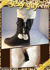BOTTES FEMME BOTTINES FOURRÉES FOURRURE fille boots chaud pompons L10