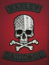 Harley Davidson (BLACK)Rockers, Skull crossbones Patches FREE Shipping