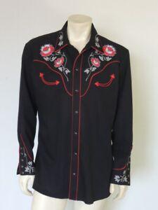 Vintage H BAR C Black Embroidered Western Shirt Rhinestones Size L - XL