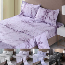 """4 Piece Bed Sheet Set 1800 Count Marble Sheets 16"""" Deep Pocket Smooth Microfiber"""