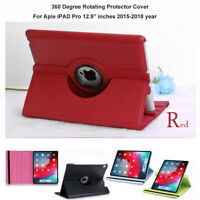 Black/Red Leather 360 Rotating Smart Stand Case Cover For Apple iPad Pro 12.9""