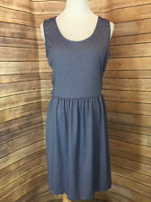 Bench Blue Micro Stripe Cut Out Crossover Open Back Dress Sleeveless Size Large