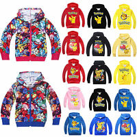 Kid Girl Boy Pikachu Zip Up Hooded Hoodie Jumper Sweatshirt Pokemon Tops T-shirt