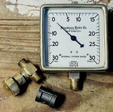 """1930s Large 4"""" Vintage Brass Boiler Pressure Gauge, Square, Antique, Steampunk"""
