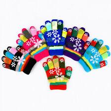 Fashion Girls Boys Kid Multicolor Stripe Winter Thick Warm Knitted Gloves&Mitten
