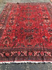 Vintage 9x12 Fine Hand-Knotted Wool Red Carpet