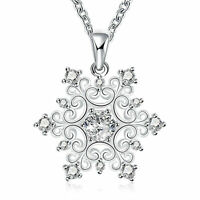 Women Jewelry Xmas Gifts White Gold Plated snowflake necklace