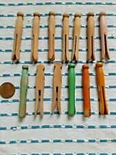 """Lot Of 13 Vintage Child'S 2.25"""" Wooden Clothes Pins For Dolls, Various Styles"""