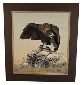 VINTAGE WILDLIFE ART PAINTING CALIFORNIA ARTIST JEAN N MCEACHERN HAWK & RABBIT