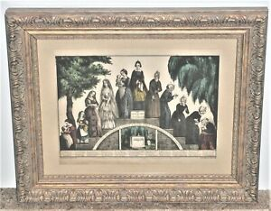 Currier and Ives Colored Lithograph The Life & Age of Woman