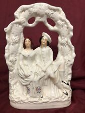 Staffordshire Antique Figurine Of Couple's Wedding ~White ~Late 1800's