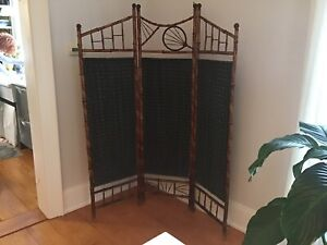 Antique Bamboo Folding Room Dividing Screen Late 1800's Early 1900's Very Unique