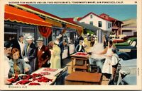 Vtg 1930s Fish Market Fisherman's Wharf, San Francisco California CA Postcard