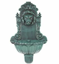 Lion Head Water Feature Bird Bath Water Fountain Antique Green Wall Mounted