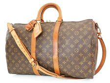 Authentic LOUIS VUITTON Keepall Bandouliere 45 Monogram Canvas Duffel Bag #37687