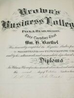 Antique Diploma Brown's Business College 1914 Graduation Shorthand Typing