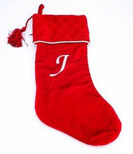 """Harvey Lewis Monogram Letter """"J"""" Luxurious Velvet Christmas Stocking Stuffers"""