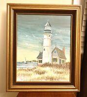 Beautiful Vintage Original Oil Lighthouse Seagulls Painting On Board