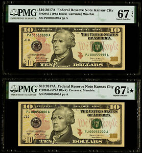 "$10 2017A Federal Reserve Note Kansas City ""Rollover Pair"" PMG 67&67* EPQ SGU"