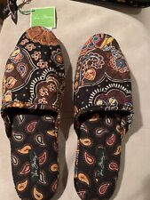 Vera Bradley sz 9/10 large Paisley Slippers w/ carry pouch