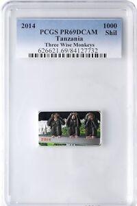 Rare 2014 Tanzania Large Proof 1 OZ Silver 1000 Francs 3 Wise Monkeys-PCGS PR 69