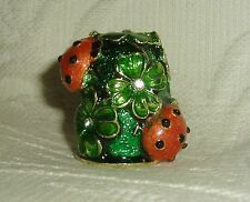 Russian Handpainted Decorative Enamel Thimble Clover with four leaves & ladybugs