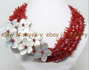 Wonderfu Charming ! natural red coral shell flower necklace