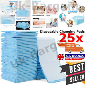 Baby Changing Mats Sheets Travel Disposable Bed Pads Incontinence 60 x 40cm 25pc