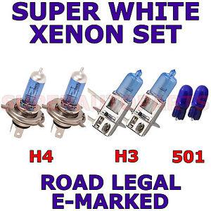 FITS DAEWOO MUSSO 1999-2000 SET H3 H4 501 HALOGEN SUPER WHITE LIGHT BULBS