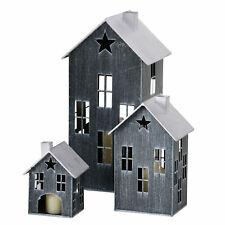Metall Laterne 3er Set - 36/23/14 cm - Deko Windlicht Haus Kerzenhalter Außen